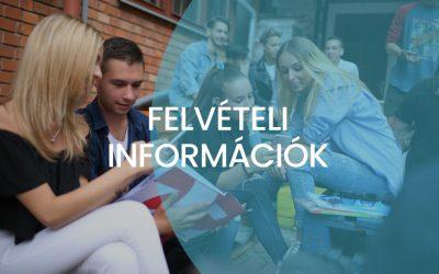 Felvételi információk a 2019/2020-as tanévre